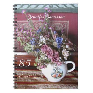 85th Birthday Party Guest Book, Vintage Teapot Notebook