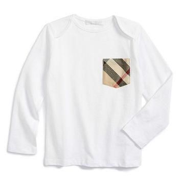 Toddler Boy's Burberry Long Sleeve Check Print Pocket T-Shirt