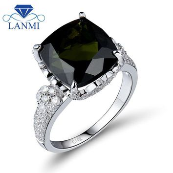 Vintage Jewelry Cushion Cut 11x11mm Tourmaline Engagement Ring With Dia In 14Kt White Gold for Women SR347A