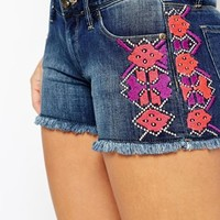 Roxy Denim Shorts With Embroidered Detail