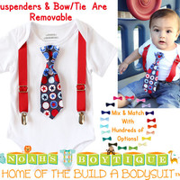 Baby Boy Fourth of July Outfit - Stars and Stripes - 4th of July - Newborn Boy - Infant Boy - Tie - 4th of July Clothes - Cute 4th of July