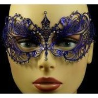 Venetian Metal Blue Laser-Cut Masquerade Mask with Rhinestones