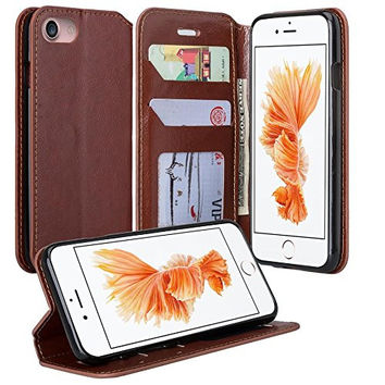 Apple iPhone 7 Plus Case, Pu Leather Magnetic Flip Fold[Kickstand] Wallet Case with ID & Card Slots for Iphone 7 Plus - Brown