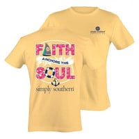 Simply Southern Preppy Faith Anchors The Soul Bright Yellow T-Shirt