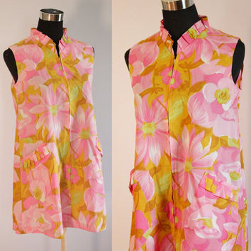Vintage Dress 70s  Flower Power Hippie Short Mod Neon Daisy PSYCHEDELIC Dress