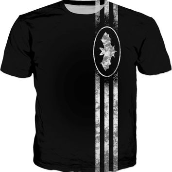 """The BAT"" Well known comic style reference, superhero sign, symbol and three stripes shirt design"