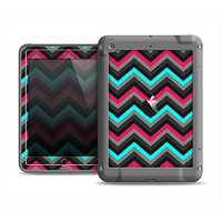 The Sharp Pink & Teal Chevron Pattern Apple iPad Mini LifeProof Fre Case Skin Set