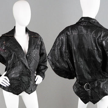 Vintage 80s Patchwork Leather Jacket Batwing Jacket Biker Jacket Rocker Jacket Studded Jacket Oversized Jacket Nipped Waist Real Leather