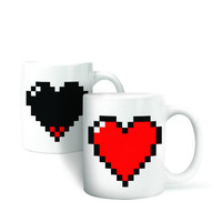 2016 New Arrival Magic Ceramic Coffee Tea Milk Hot Cold Heat Sensitive Color-Changing Mug Cup Pixel Heart Lovely Gift