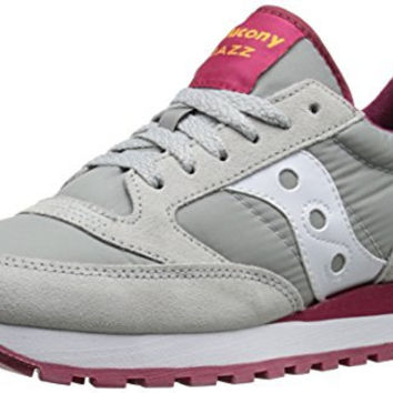 Saucony Originals Women's Jazz O Classic Retro Running Shoe, Grey/Red, 9.5 M US