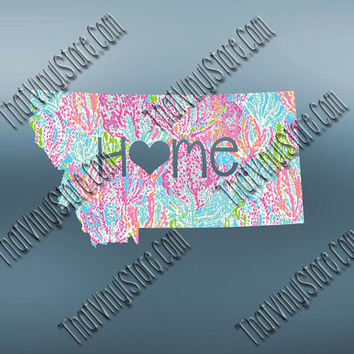 Montana Heart Home Decal | I Love Montana Decal | Homestate Decals | Love Sticker | Preppy State Sticker | Preppy State | 066