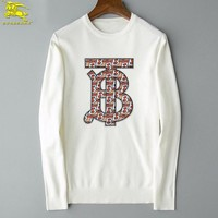 Burberry New fashion letter print couple long sleeve top sweater White