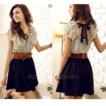 Korean Women Summer New Fashion Short-sleeve Dots Polka Waist Dress AP = 1651278788