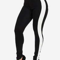 High Waist Contrast Trim Skinny Pants