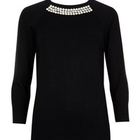 Crystal embellished knit sweater - Black | Sweaters | Ted Baker