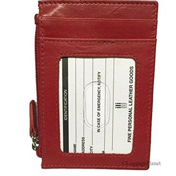 iLi Leather Womens RFID Credit Card amp ID Holder Wallet wZip Pocket Red