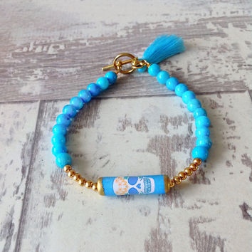 Blue skull bracelet, sugar skull bracelet, tassel bracelet, day of the dead, frida jewelry,