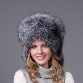 VONESC6 Ushanka Hat 100% real fur Silver Fox with fox tail ear caps woman natural fox fur cap lady's winter warm hats hairy cap HJL-03