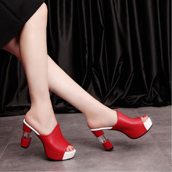 2017 summer women genuine leather sandals woman casual shoes high-heeled pumps platform slippers thick heel open toe flip flops