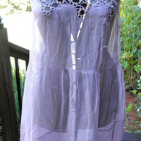 RISQUE 1920s Lilac Linen and Tatted Lace Negligee // Nightgown // Slip // Sultry Lavender