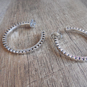 Lia Sophia Silver tone Open Hoop Earrings