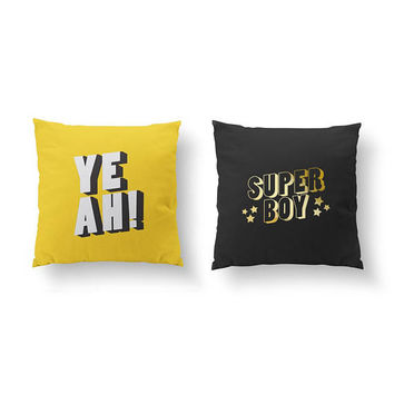 SET of 2 Pillows, Super Boy Pillow, Teen Boy Room, Gold Pillow, Nursery Decor, Bed Pillow, Teen Art, Yeah Pillow, Throw Pillow,Cushion Cover