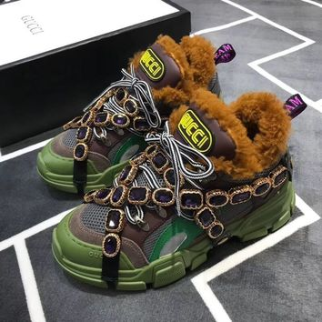 GUCCI Flashtrek wool sneaker with crystals-1