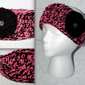 Crochet black & pink medium Headband Ear warmer with crystal accents