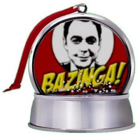 The Big Bang Theeory Sheldon Cooper Bazinga SnowGlobe Magnet Tree Ornament
