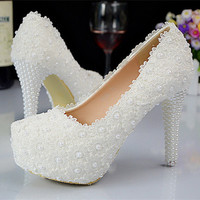 2016 New Platform Beautiful Pearl Lace White Wedding Shoes Women Pumps Party Dance Sexy High-Heeled Shoes