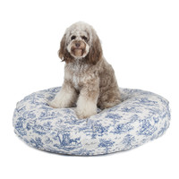 Dog Toile Round Bed | Blue