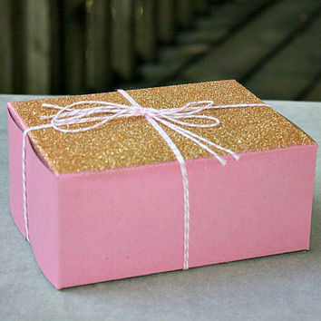 Glitter Dusted Bakery/Pastry/Favor Boxes in Pink and Gold- as featured on the Amy Atlas blog