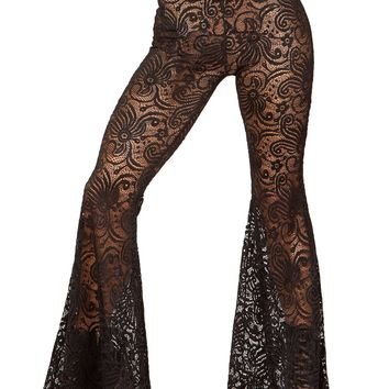 Black Cyclone Lace Bell Bottom Pant