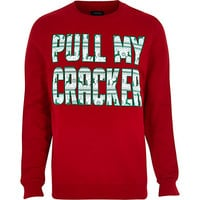 River Island MensRed Christmas pull my cracker print sweater