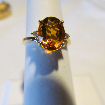 November Birthstone 14 KTCitrine Ring Lovely Yellow Citrine 14Kt YG Diamond November Birthstone Jewelry Citrine Fauceted Jewelry Scorpio