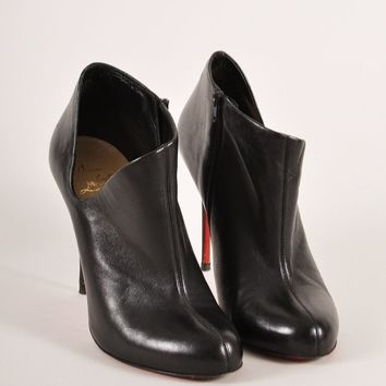 CREYU2C Black Leather Low Cut Ankle Stiletto Booties