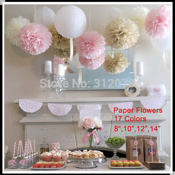 DIY 10 inch 25 cm Decorative Tissue Paper Pom Poms Flower Balls for Birthday Party Supplies Wedding Decorations