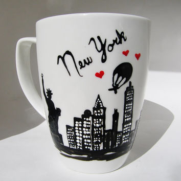 Long Distance Relationship, Friendship Gift, New York State to State Mugs, BFF, Custom Skyline