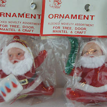 Vintage Retro Christmas Ornaments 2 Flocked Santa Claus Figurines
