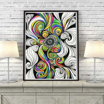 Vibrant Colors  Folk Mandala Drawing Print, Psychedelic Zentangle Art, Living Room Spiritual Energy Wall Decor, Tribal hypnotic Poster Print
