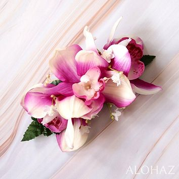 Purple Cymbidium Dream Hawaiian Flower Hair Clip