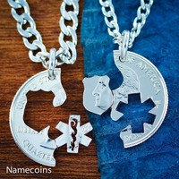 Law Enforcement, EMT Couples Necklaces, Star of life and Police Badge Cut Coin