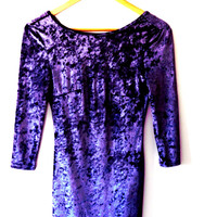 Amazing amethyst/soft velvet/low back/long sleeve/stretchy/bodycon/vintage 90s mini dress