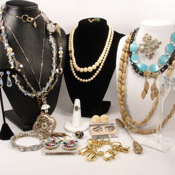 Vintage Jewelry Lot, Vintage Necklace, Sterling Silver, Rhinestone Jewelry, Celluloid Jewelry, Crystal Jewelry, Destash Lot, Craft Lot