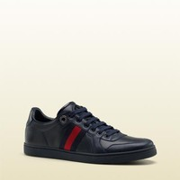 lace-up trainer with interlocking G and signature web detail. 283115APD904070