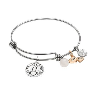 love this life Gold Tone, Silver Plate & Stainless Steel ''Love'' Bangle Bracelet (Pink)