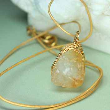 Raw Citrine Necklace, Rough Cut Citrine Pendant, Wire Wrapped Citrine Pendant, Rustic Jewelry, Gold Wrapped Citrine Necklace, Yellow Citrine