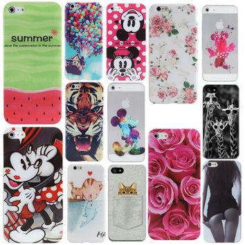 For iphone 4 4s 5 5s 5se 6 4.7'' Phone Case Cover Cute 3D Cartoon Mouse Cat Floral Animal Pattern Mobile Phone Back Funda Capa