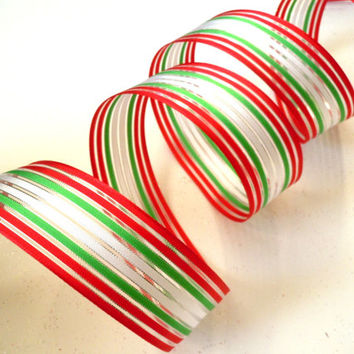 "wired Christmas ribbon decorations white red green stripes candy cane Christmas tree ribbon Christmas wreath ribbon gift wrap 1.5"" 5yd"