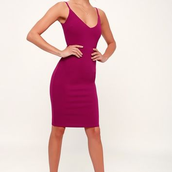 Sass and Class Magenta Sleeveless Bodycon Dress